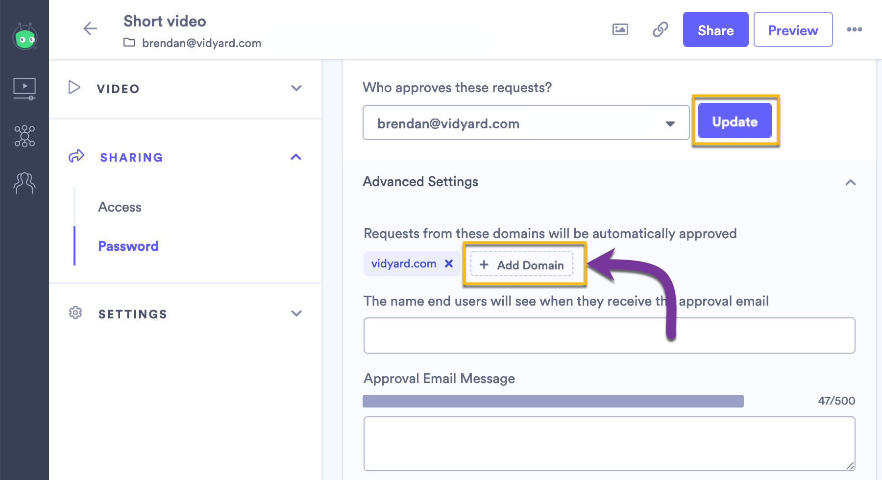 Adding an email domain to your automatical approval list