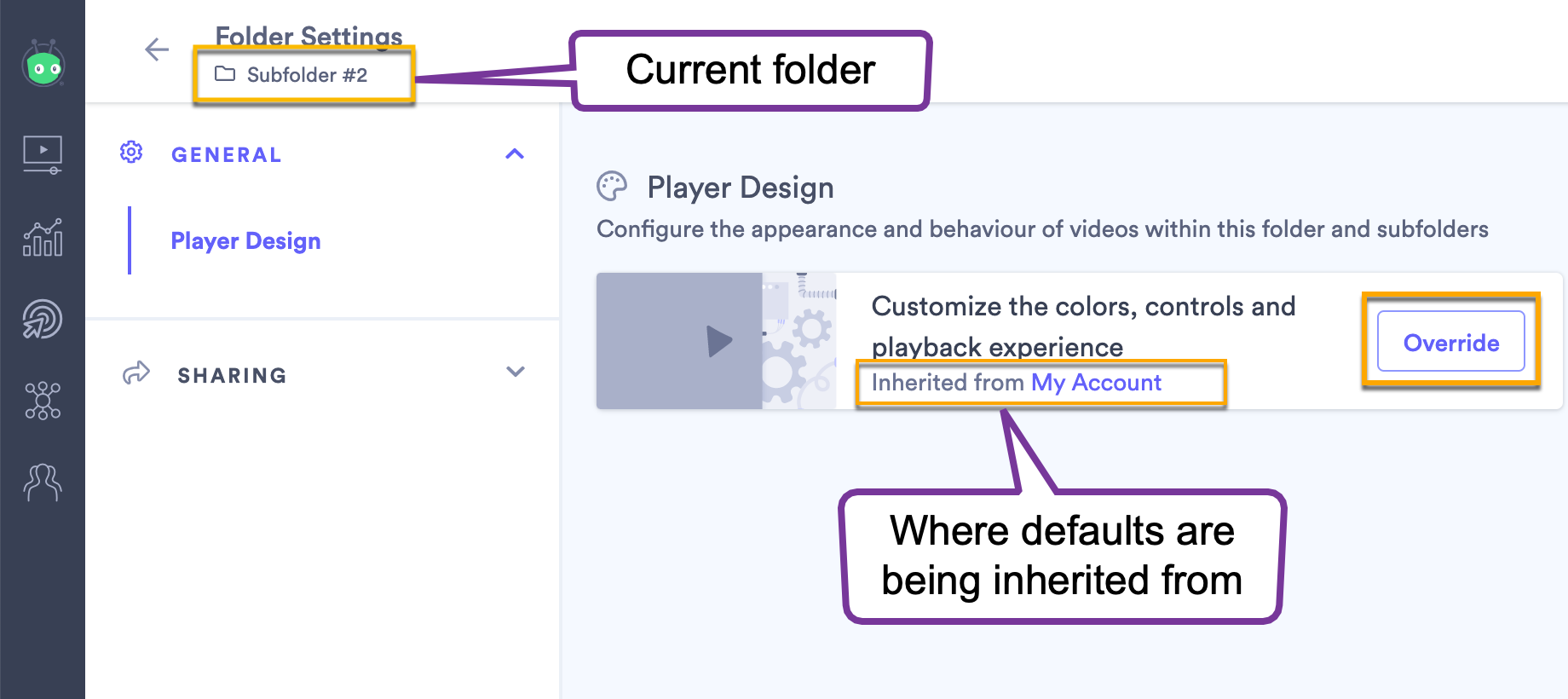 The folder settings page indicating that video design defaults are being inherited from another folder
