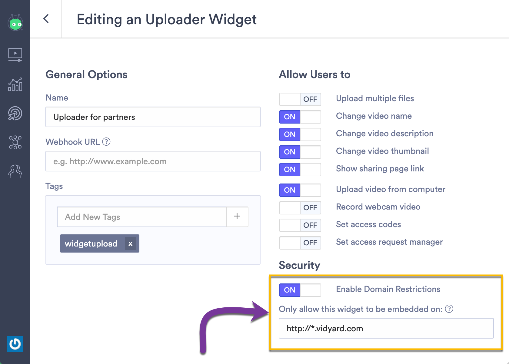 Restricting where you uploader widget can be embedded to a specific web domain