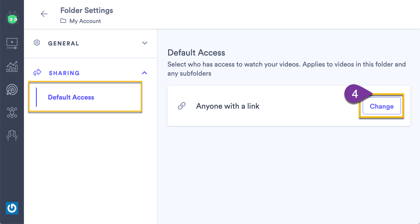 Changing the access settings for the folder