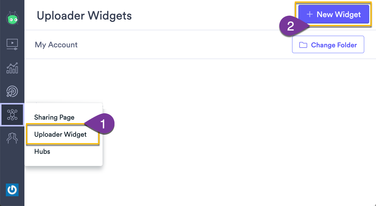 Selecting the button to create a new uploader widget